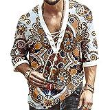 Men's Fashion Shirt Short Sleeve Beach V-Neck Drawstring Printing Yoga African Summer Top White 5XL