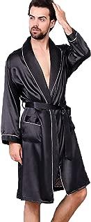 Men's Satin Kimono Robe Spring Summer Shawl Collar Sleepwear Classic Silk Bathrobes