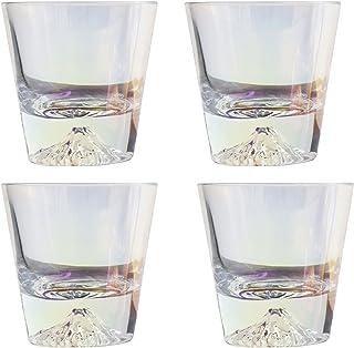 Snow Mountain Color Cup Coups 4-piece مجموعة 9 أوقية و 10 أوقية اختيارية. حليب عصير القهوة الأواني الزجاجية (Size : Small)