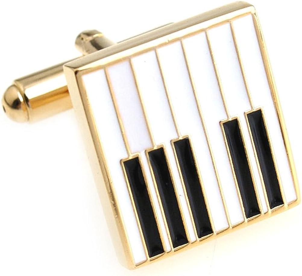 Piano Keys Cufflinks Gift Music Fan Cuff Links (White Gold)