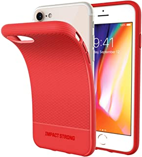 iPhone 7/8 Case, ImpactStrong Liquid Shield Silicone Rubber Shock-Absorbing Scratch-Resistant Cover for Apple iPhone 7 & iPhone 8 (4.7 inch) - Red