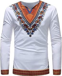 Misaky Tops for Men Luxury African Print Blouse Summer Fashion Long Sleeve Dashiki Shirt