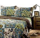Tache Home Fashion Cotton Floral Patchwork Lightweight Summer Bedspread Quilt Set