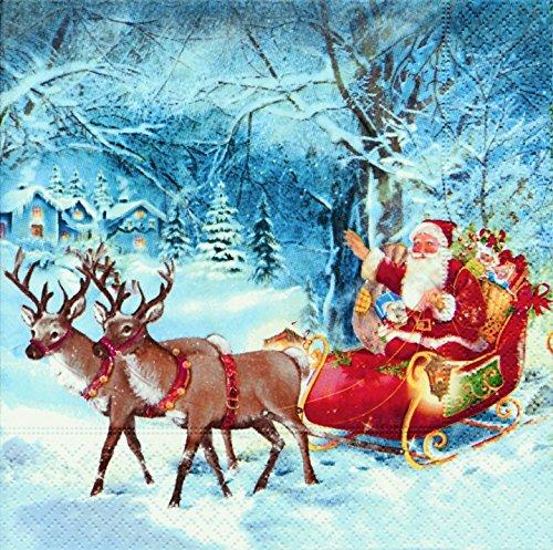 40 Lunch Servietten Santa on tour (Santa on tour)1/4 gefalzt, 3-lagig Größe offen: 33x33 Weihnachten Weihnachtsmann Winterwald