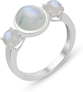 3 Stone Genuine Rainbow Moonstone Ring - .925 Sterling Silver Ring   Valentine Gifts for Her