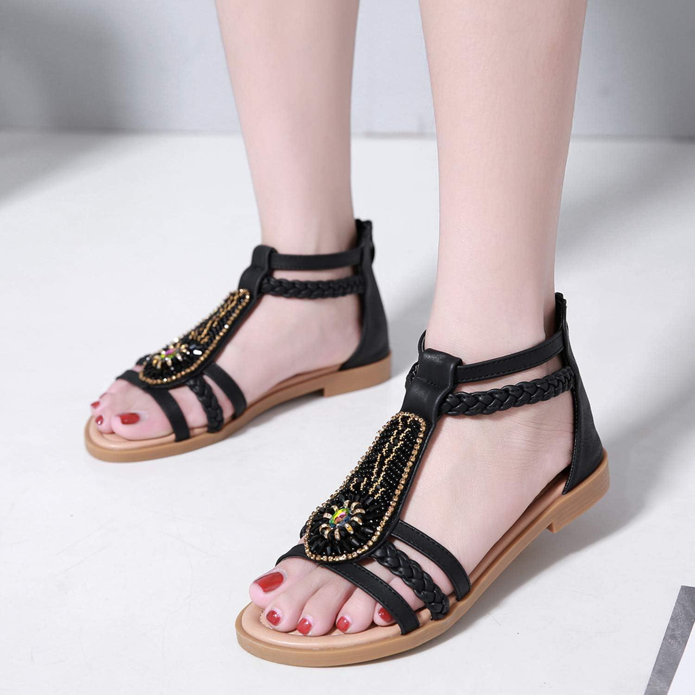 3 Colors ZAPZEAL Damen M/ädchen Sommer Sandalen Strandschuhe B/öhmische Stil Perlen Peep Toe Flache Schuhe in Gr/ö/ße 37-42EU