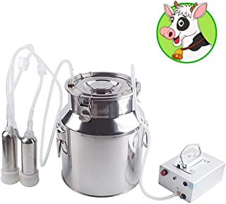 Futt Electric Pulsation Milking Machine Single Bucket Piston Vacuum Pulsation Milking Machine for Cows Cattle or Sheep Optional (4L, Cow)