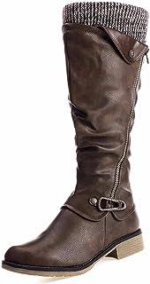 gracosy Leather Knee Boots, Women's Knee High Boot Flat Heel Zipper Buckle Riding Boots