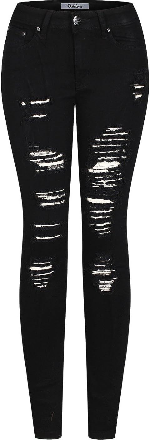 2LUV Women's Stretchy 5 Pocket Destroyed Wholesale Denim Dark Portland Mall Jeans Skinny