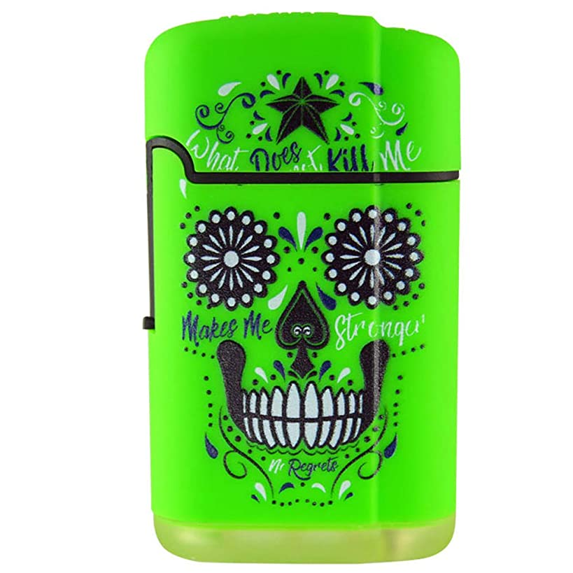 Big Bubba Refillable Blue Flame Dual Turbo Torch, Built for Life - Green Skull