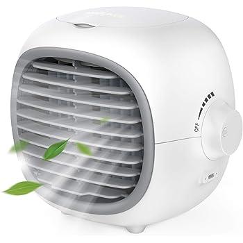 NIXIUKOL【2020年最新改良版】 冷風機 冷風扇 卓上冷風機 扇風機 usb給電式 電池式 漏水防止 無段階風量調節 水/氷入れ 加湿機能 冷却機能 熱中症対策 コンパクト オフィス 自宅用 (ホワイト)