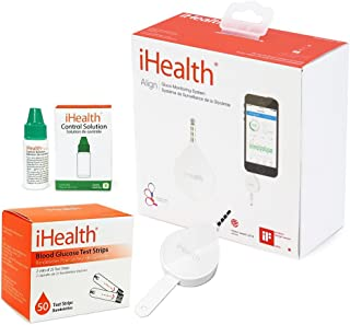 iHealth Align Smart Diabetes Testing Kit with 50 Strips - iHealth Align Smart Blood Glucose Meter BG1, 50 Blood Test Strips, 1 Lancing Device, 30G lancets, Control Solution and Carrying Case