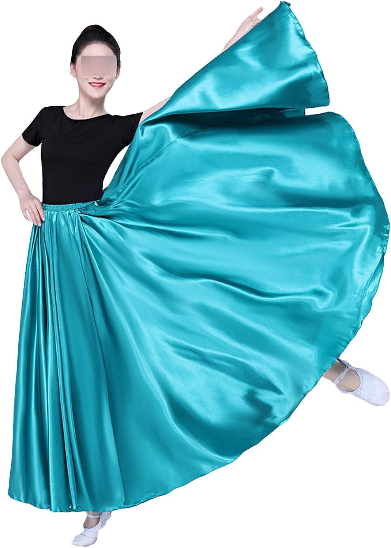 360 Degree Satin Skirt Belly Dance Women Long Skirts Dancer Practice Wear 15Color Assorted Dance Skirt