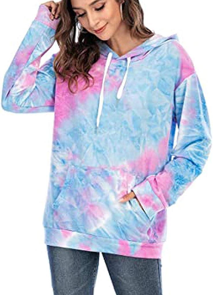 Long Sleeve O-Neck Sweatshirt Tie-Dye Gradient Pocket Hooded Pullover Casual Loose Top Blouse F/_topbu Hoodies for Women