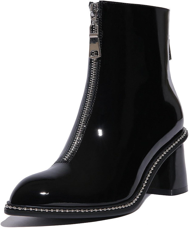 Nine Seven Seven Seven Patent läder Woherrar Point Toe Chunky Heel Zipper Style Handgjort Dress Ankle Booslipss Ny  erbjuder butik