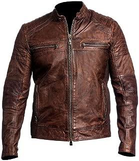Distressed Brown Motorcycle Real Sheepskin Leather Biker Jacket