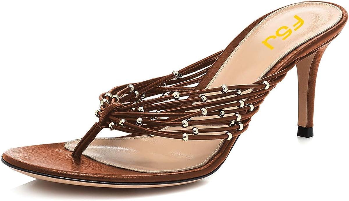 FSJ Women Sexy Beaded Trim Strappy Slide Sandal Open Toe Thong Stiletto Flip Flops Slip On Mid Heel Mules Shoes Size 4-15 US