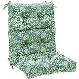 AmazonBasics Tufted Outdoor High Back Patio Chair Cushion- Blue Flower