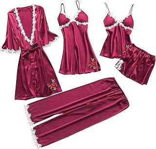 Pervobs 5PC Women Pajamas Sexy Lace Lingerie Nightwear Soft Lightweight Underwear Babydoll Sleepwear Dress Suit