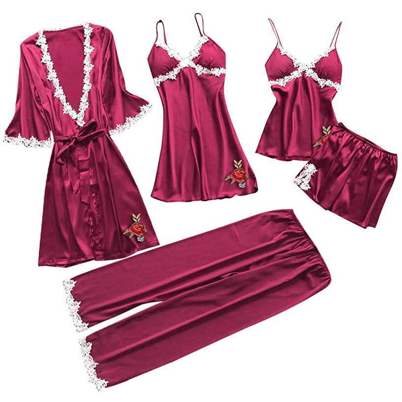 5Pcs Sexy Pajamas for Women Silky Sets Silk Satins Lace Sleepwear Black Strap Dress Robe Shorts & Pants Home Wear