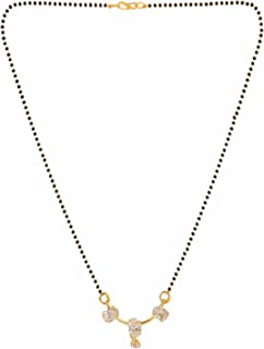 Efulgenz Indian Bollywood Traditional Gold Plated American Diamond CZ Mangalsutra Pendant Necklace Jewelry Women