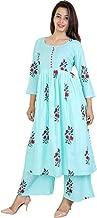 6TH Avenue Streetwear Women's Cotton Kurti with Palazzo Pant (Sky Blue, XX-Large)