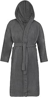 Rimi Hanger Mens Ladies 100% Cotton Hooded Bathrobe Adults Toweling Bath Robe Dressing Gown