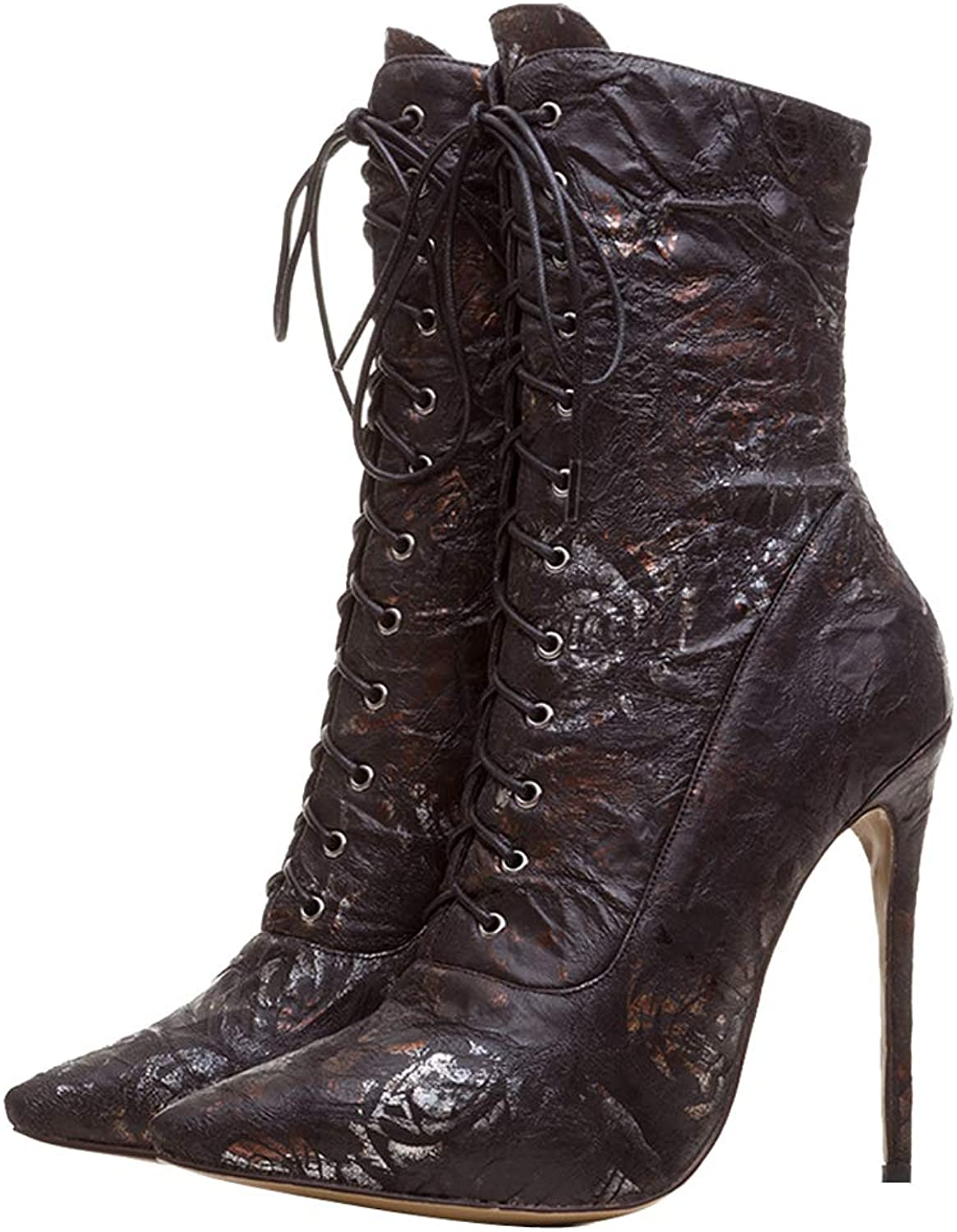 Themost Womens Ankle Boots,Lace Up High Heel Boot Winter Pointed Toe Booties Black