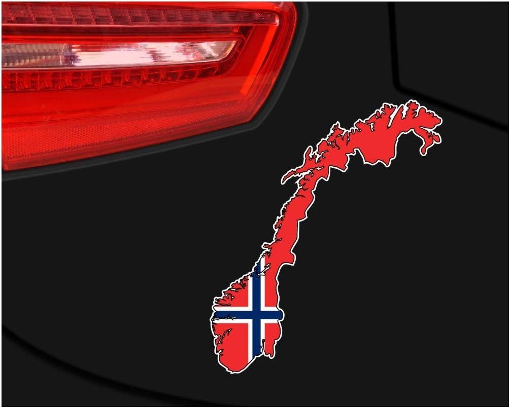 Samunshi Norwegen Aufkleber Autoaufkleber In Nationalfarben Norge In 10 Größen 21x25cm Color Title Küche Haushalt