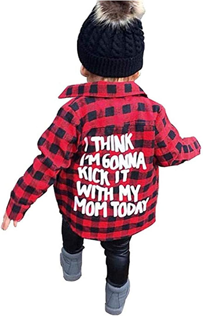 Christmas Outfits Toddler Baby Boys Girls Letters Print Long Sleeve Button Down Red Plaid Cotton Top Blouse