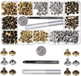 SIISMI 180 Set 2 Tamaños de Remaches de Cuero Remache de Doble Tapa Pernos con 3 Piezas de Herramienta de Reparación para DIY Artesanía de Cuero, Reemplazo de Remache, 3 colores oro, plata y bronce.