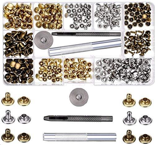 SIISMI 180Set 2Größen Leder-Nieten Doppelkappe Nieten Stahlrohr Metall Nieten mit 3Werkzeugen für Heimwerker Leder-Basteln, Nieten-Ersatz, 3Farben Gold, Silber und Bronze