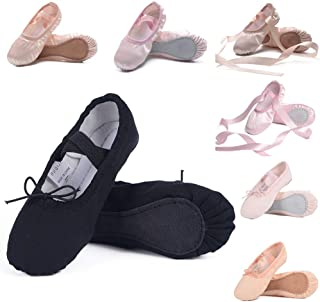 Ruqiji Ballet Shoes for Girls/Toddlers/Kids/Women, Canvas Ballet Shoes/Ballet Slippers/Dance Shoes, Satin Ballet Shoes with Ribbon/Full Sole