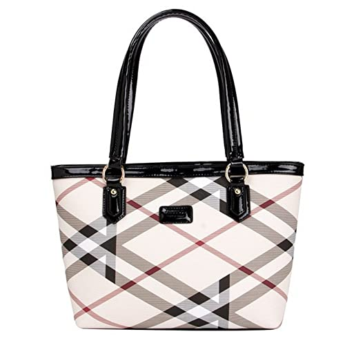 Lady Women Designer Stylish Grid Top-Handle Handbag Leather Check Shopping  Tote Shoulder Bag 0ed90f8e14429