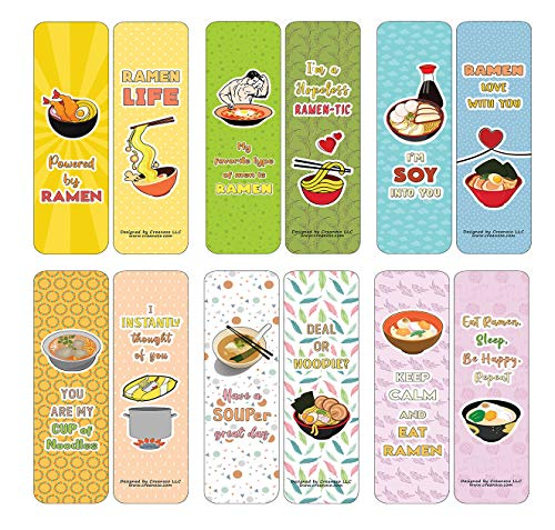 Creanoso Funny Bookmarks Cards - Ramen Puns and Jokes (30-Pack) - Classroom Reward Incentives for Students and Children - Stocking Stuffers Party Favors & Giveaways for Teens & Adults