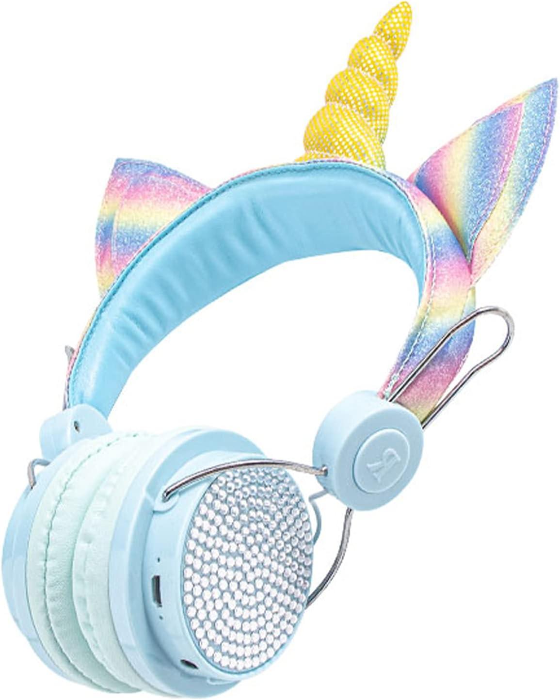 Kids Headphones Wireless Headphones for Kids Unicorn Headphones for Girls Bluetooth w/Microphone Adjustable Headband, Over On Ear Headset for School/Kindle/Tablet/PC Online Study (Blue)
