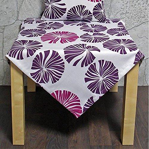 Hossner Tischdecke, Mitteldecke Boston 85x85cm weiß lila pink mit Blattmotiv