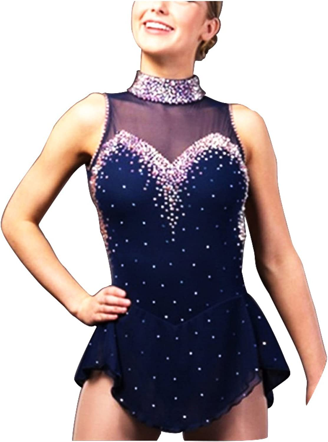 GZHGF Handmade Ice Skating Dress For Women And Girls Mesh Sexy Backless Competition Professional Dress Leotard Dark blueee