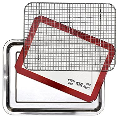 Stainless Steel Sheet Pan 15.5  by 11.5  & Cooling Rack & Silicone Baking Mat Set - Extra Durable Cookie Sheet, Oven Safe non-toxic heavy duty Bakeware. great for roasting Bacon, Biscuit, and Brownie.
