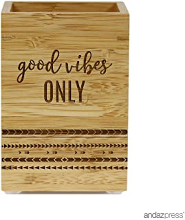 Andaz Press Engraved Bathroom Toothbrush Holder, Good Vibes Only, 1-Pack, Bamboo Wooden Yoga Hippie Birthday Gifts