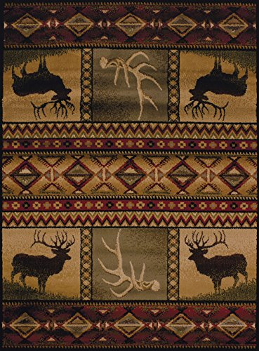 United Weavers of America Affinity Collection Hunter's Dream Rug - 7 ft. 10in. x 10ft. 6in., Brown, Decorative Rug, Lodge Style, Modern Indoor Rug