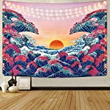 HZAMING - Tapiz de ondas oceánicas para la puesta del sol en 3D, diseño de gran onda japonesa para habitación (onda del océano, 148 x 198 cm)