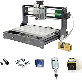 Purewords DIY CNC 3018 PRO Router with 5500mw Laser Module and Offline controller GRBL Control LaserGRBL for PCB Wood Milling Engraving Machine 10pcs 3.175mm Carbide End Mill Engraving Bit Sets