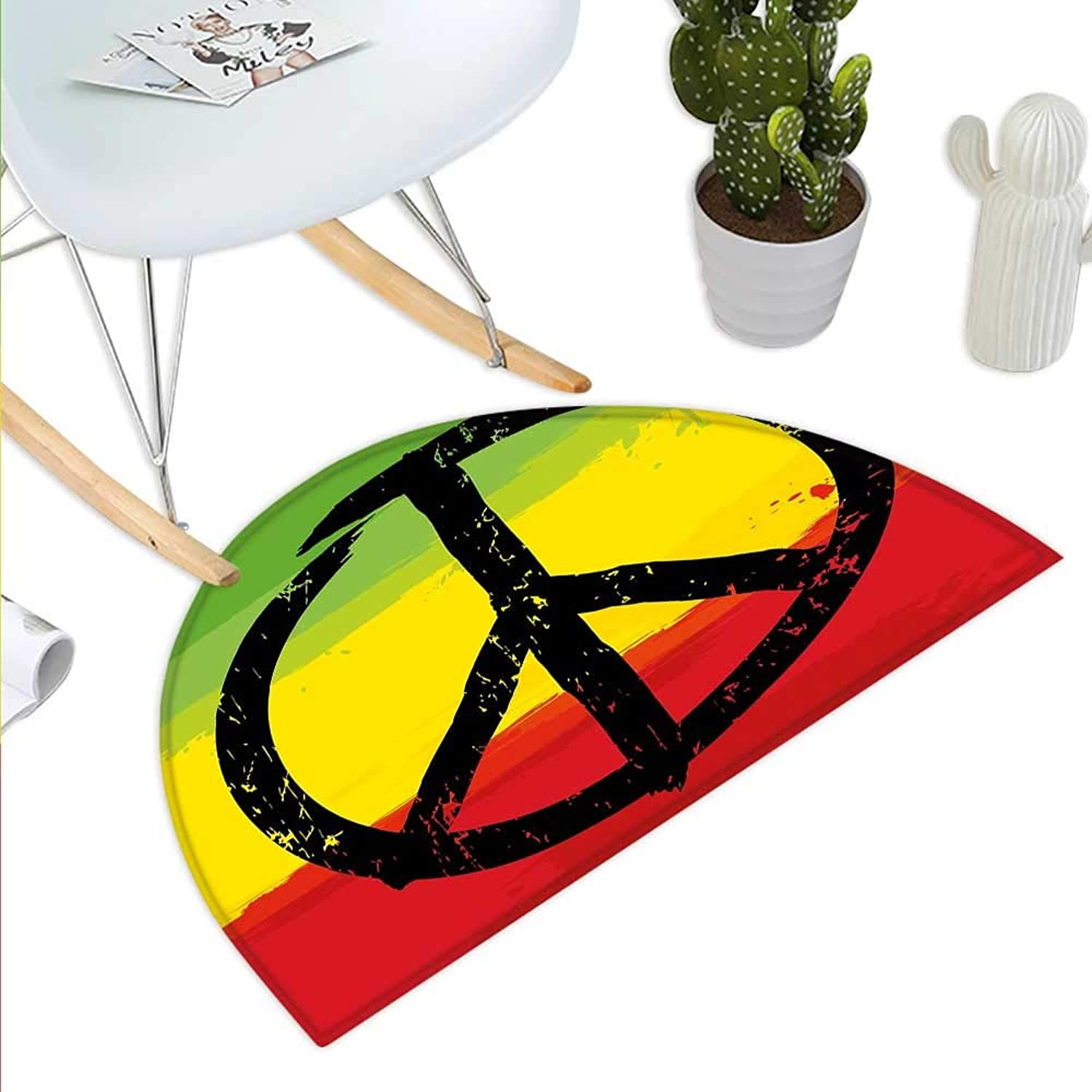 Rasta Semicircle Doormat Grunge Style Watercolor Design African Flag colors Hippie Peace Sign Halfmoon doormats H 43.3  xD 64.9  Black Green Yellow and Red