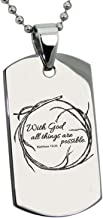 Stainless Steel with God All Things are Possible Matthew 19:26 Dog Tag