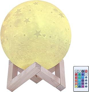 ENCOFT Lámpara de Luna 3D 16 Colores RGB Luz Nocturna Luna LED Lampara Luna 4 Modos de Lluminación Control Remoto Decorativa para Dormitorio Decoración Navideña Regalos (estrella, 15)