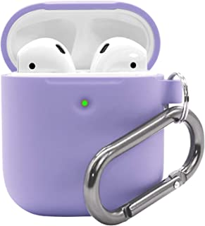Airpods 2 Case with Keychain - Waterproof Silicone Cover Airpods Accessories for AirPods 2 Wireless Charging Case (Lavender)