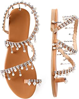 Women's Bohemia Bling Rhinestone Pearl Flat Gladiator Sandals Toe Ring Dress Shoes