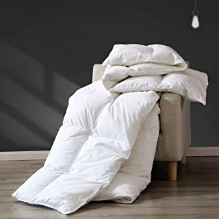 APSMILE Bedding Luxurious All Season Siberian Goose Down Comforter Queen- 1200TC 100% Original Cotton Cover,45 Oz Hypoallergenic Medium Warmth Duvet Insert (90x90 ins, Off-White)