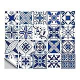 20 Piezas De Azulejo De Mosaico Pegatinas Impermeable De PVC Fondo De Pantalla Despegar Y Pegar Entrepaños De Cocina Cuarto De Baño Azulejos Decal Decoración Del Hogar,Blue 02,6x6 in